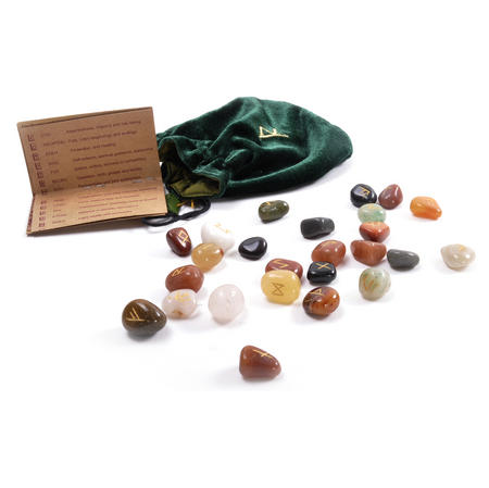 Gemstones Runes Set with Pagan Futhark Runic Symbols