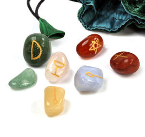 Witch Stones Runes Set with Pagan Gemstones featuring Futhark Runic Symbols Thumbnail 8