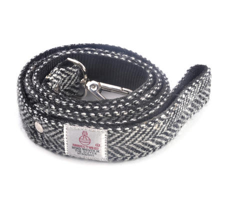 Black & White Harris Tweed Dog Lead