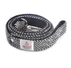 Black & White Harris Tweed Dog Lead Thumbnail 1