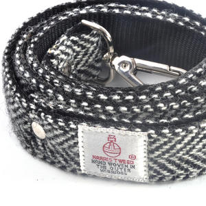 Black & White Harris Tweed Dog Lead Thumbnail 2