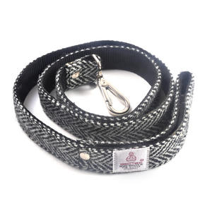 Black & White Harris Tweed Dog Lead Thumbnail 4