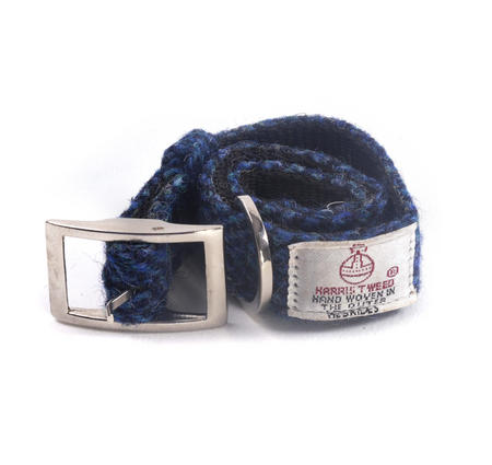 Small Blue Harris Tweed Dog Collar