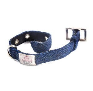 Small Blue Harris Tweed Dog Collar Thumbnail 2