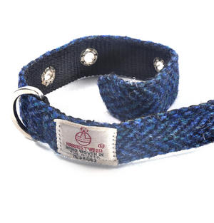 Small Blue Harris Tweed Dog Collar Thumbnail 3