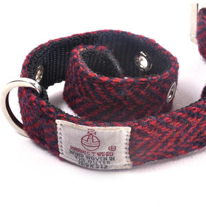 Small Red Harris Tweed Dog Collar Thumbnail 3