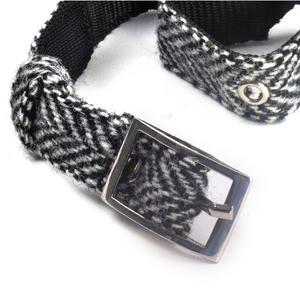 Small Black & White Harris Tweed Dog Collar Thumbnail 2