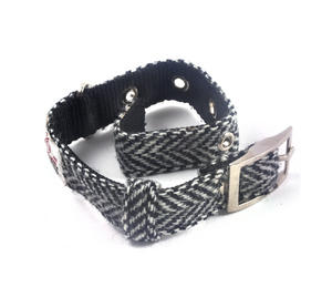 Small Black & White Harris Tweed Dog Collar Thumbnail 4
