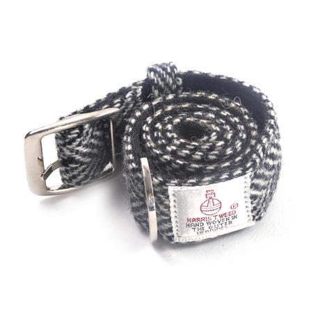 Large Black & White Harris Tweed Dog Collar