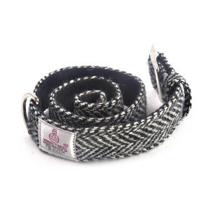 Large Black & White Harris Tweed Dog Collar Thumbnail 2