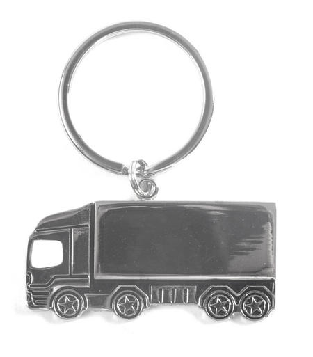 Trucker Polished Steel Lorry Keyring