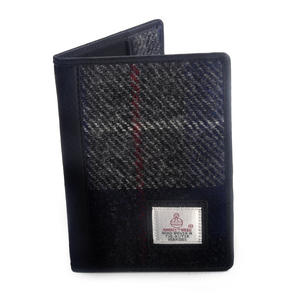 Grey / Blue & Red Stripe Harris Tweed Check Passport Wallet by Cloudberry