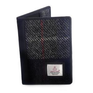Grey / Blue & Red Stripe Harris Tweed Check Passport Wallet by Cloudberry
