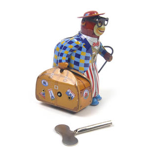 Monkey Globetrotter - Classic Clockwork Collector's Toy Thumbnail 1