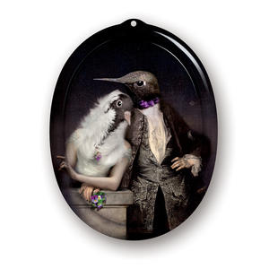 Lovebirds - Le Boudoir - Galerie De Portraits - Surreal Wall Tray Art Masterwork by iBride Thumbnail 1