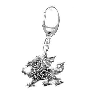 Welsh Dragon Pewter Keyring Thumbnail 1