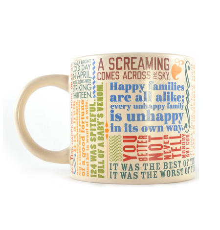 Greatest First Lines of Literature Ever Mug - Kerouac, Gatsby, Lolita, Salinger, Dickens etc
