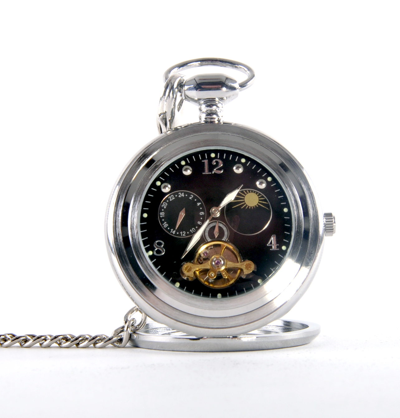 Black Face Sun And Moon Pocket Watch Pink Cat Shop