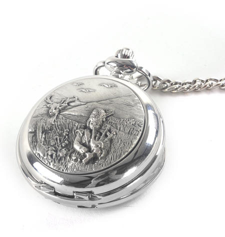 Bagpiper & Stag Highland Scene Pocket Watch