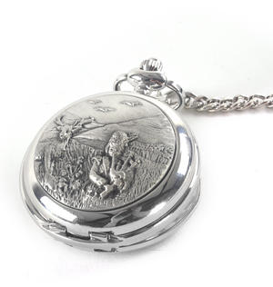 Bagpiper & Stag Highland Scene Pocket Watch Thumbnail 1