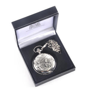 Bagpiper & Stag Highland Scene Pocket Watch Thumbnail 2