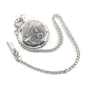 Bagpiper & Stag Highland Scene Pocket Watch Thumbnail 3