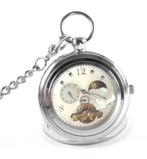 White Face Sun And Moon Pocket Watch Thumbnail 1