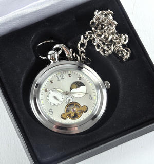 White Face Sun And Moon Pocket Watch Thumbnail 3