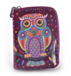 Purple Folk Art Owl Medium Purse Thumbnail 1