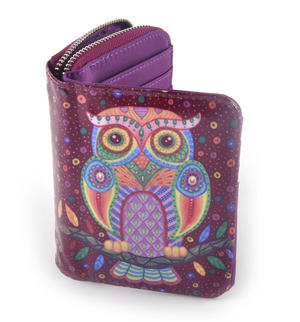 Purple Folk Art Owl Medium Purse Thumbnail 4