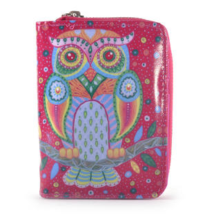 Fuchsia Folk Art Owl Medium Purse Thumbnail 1