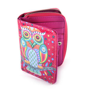 Fuchsia Folk Art Owl Medium Purse Thumbnail 4