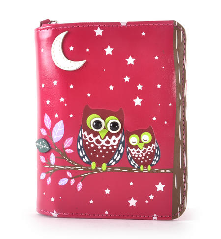 Fuchsia Sleeping Owls Medium Purse