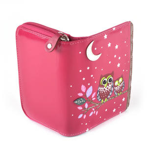Fuchsia Sleeping Owls Medium Purse Thumbnail 2