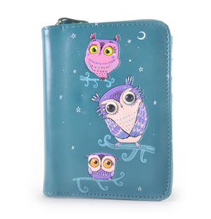 Blue Pretty Owls Medium Purse Thumbnail 1