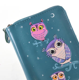 Blue Pretty Owls Medium Purse Thumbnail 5