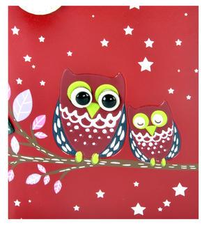 Red Sleeping Owls Medium Purse Thumbnail 4