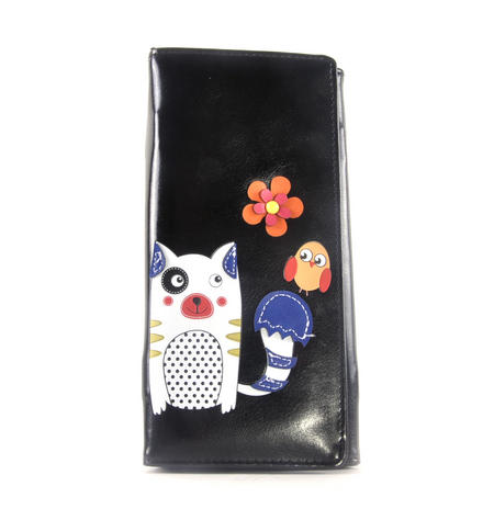Black Cute Kitty & Bird Friend Long Purse