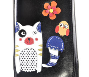 Black Cute Kitty & Bird Friend Long Purse Thumbnail 2