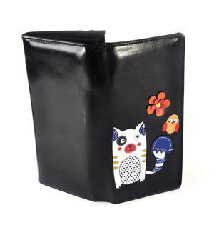 Black Cute Kitty & Bird Friend Long Purse Thumbnail 5