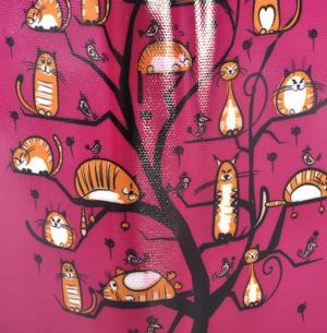 Fuchsia Cats in a Tree Long Purse Thumbnail 2