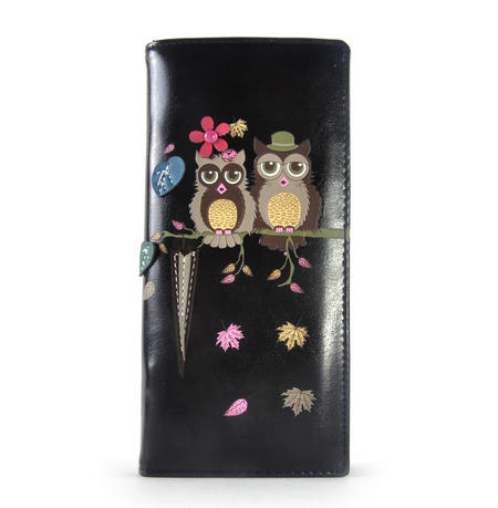 Black Mr & Mrs Owl in a Tree Long Purse