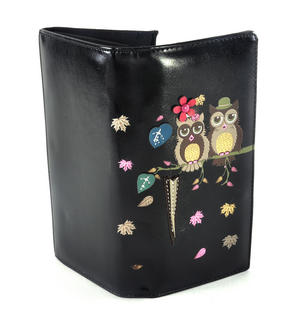Black Mr & Mrs Owl in a Tree Long Purse Thumbnail 3