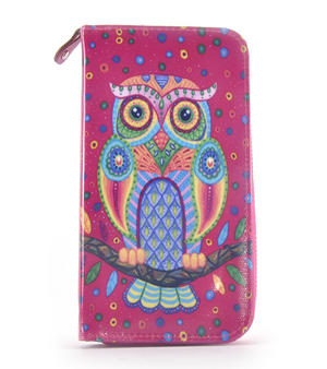 Fuchsia Folk Art Owl Long Purse Thumbnail 1