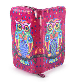 Fuchsia Folk Art Owl Long Purse Thumbnail 3