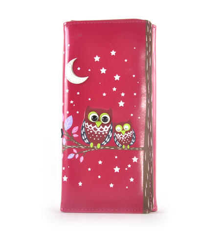 Fuchsia Sleeping Owls Long Purse