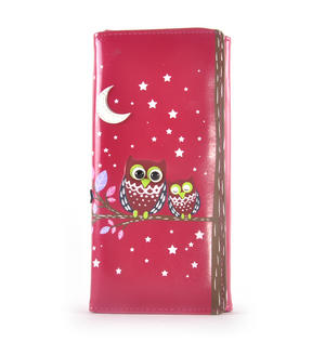 Fuchsia Sleeping Owls Long Purse Thumbnail 1