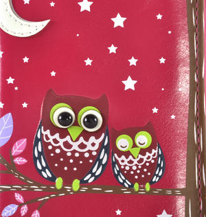 Fuchsia Sleeping Owls Long Purse Thumbnail 2