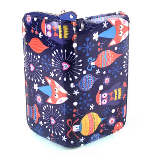Dark Blue Fox & Owl Friends Long Purse Thumbnail 1