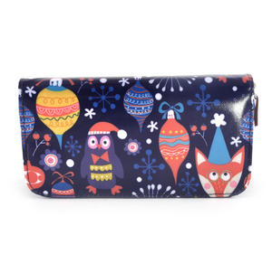 Dark Blue Fox & Owl Friends Long Purse Thumbnail 2
